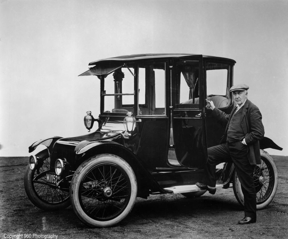 Here Is A Picture Of Thomas Edison And 1914 Detroit Electric Automobile